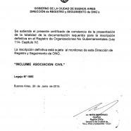 Inscripto en la Dirección de Registro y Seguimiento de ONG